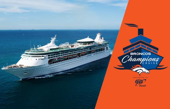 Roayl Caribbean's Enchantment of the Seas liner plus a logo for the Broncos Champions Cruise.