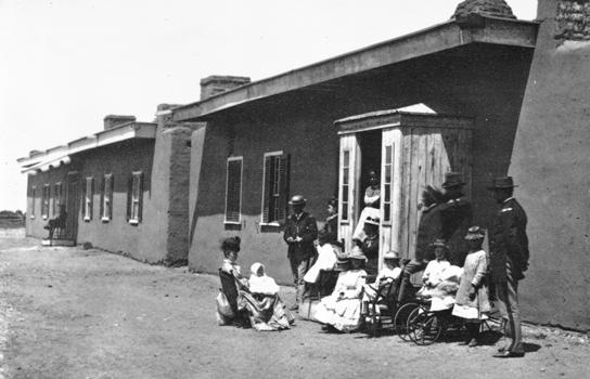 Buffalo Soldiers meeting townspeople.