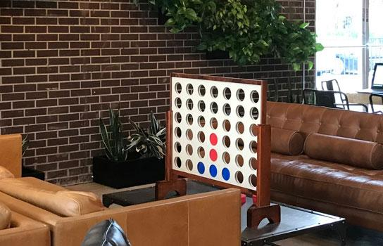 A Connect Four game in a hotel lobby.