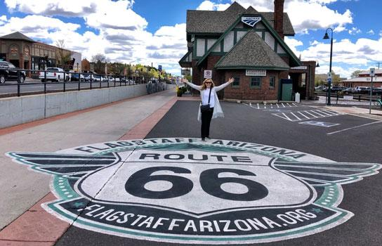 Author Jennifer Broome in on Route 66 in Flagstaff.