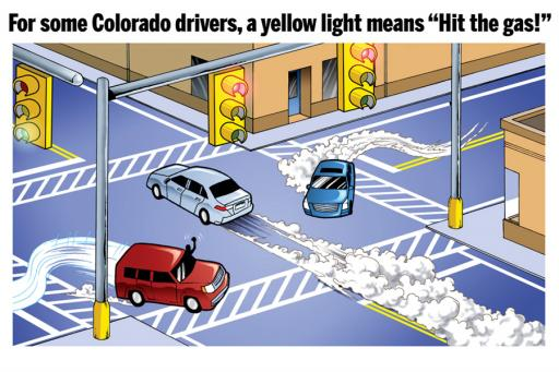 "For some Colorado drivers, a yellow light means ""Hit the gas!"""
